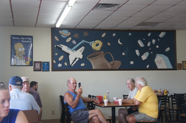 "A beautiful mural of space and donuts - note, the big ""dipper"""