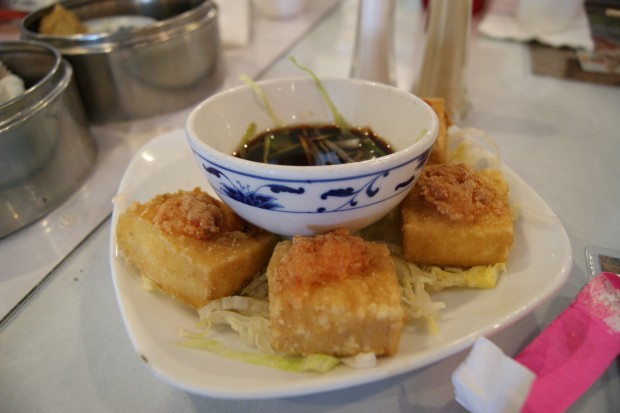 Fried stuffed shrimp tofu at Lam's Garden