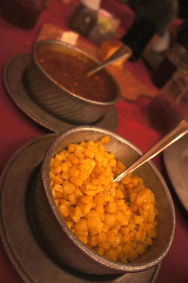 Corn and baked bean sides at the Hoop-de-doo