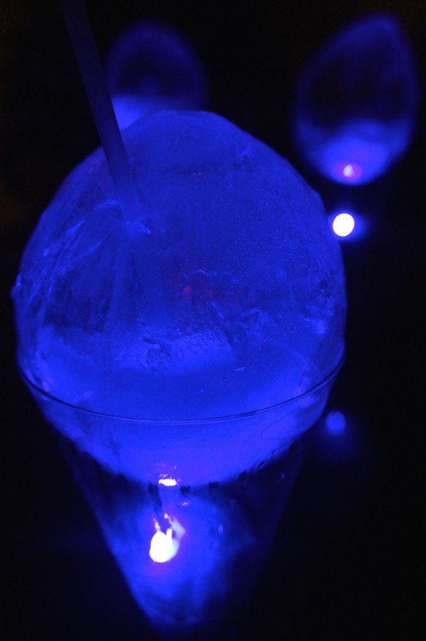 "The Waldorf ""Egg"" -  20 - An entire frozen ""egg"" filled with Lavender Syrup, Blue Curacao,  Fresh Lemonade, ~Bombay Sapphire~"