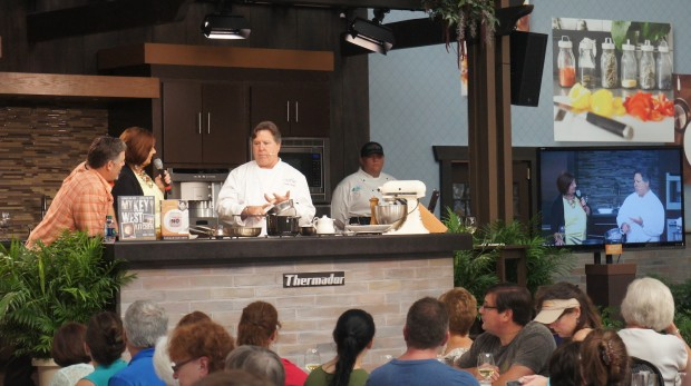 Chef Norman Van Aken doing a chef's demo - one of many Celebrity Chef demonstrations at the Festival!