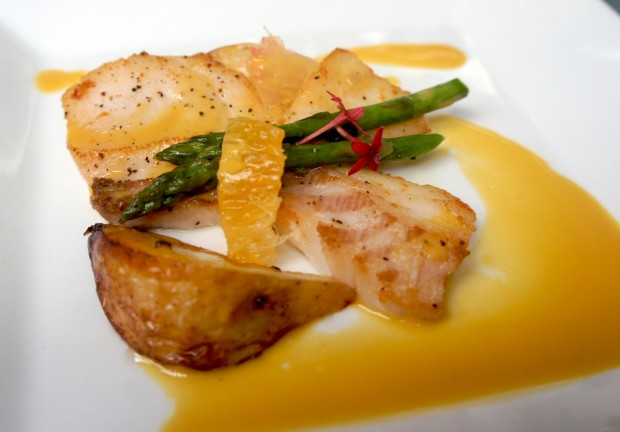 Chef Norman's beautiful creation with a mussel broth, grouper cheeks