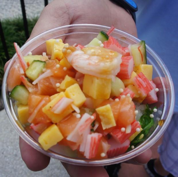 Japan - Chirashizushi — Salmon, shrimp, crab and egg served over seaweed salad and ginger rice*