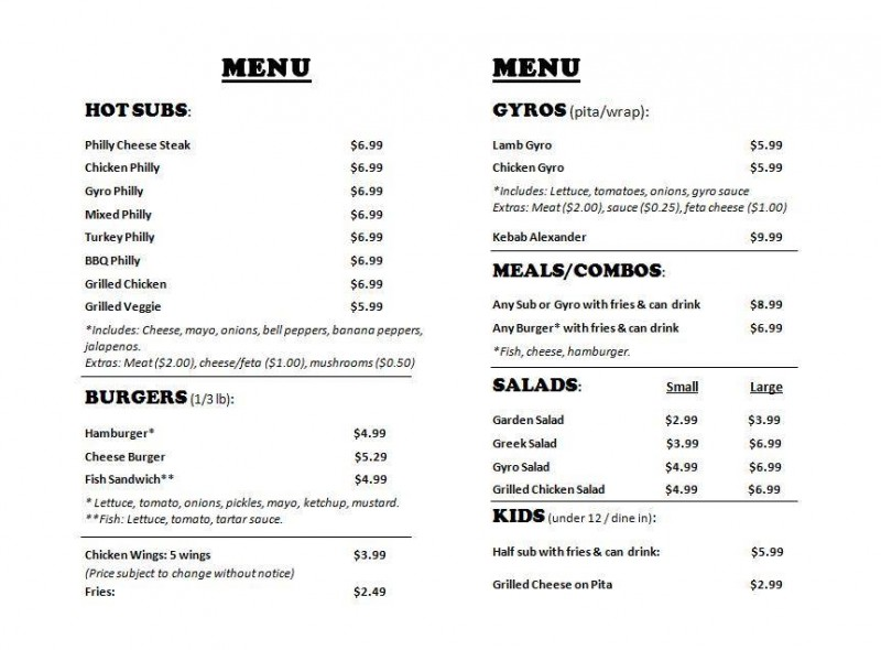 Menu at Halal Philly Cheesesteaks and Gyro