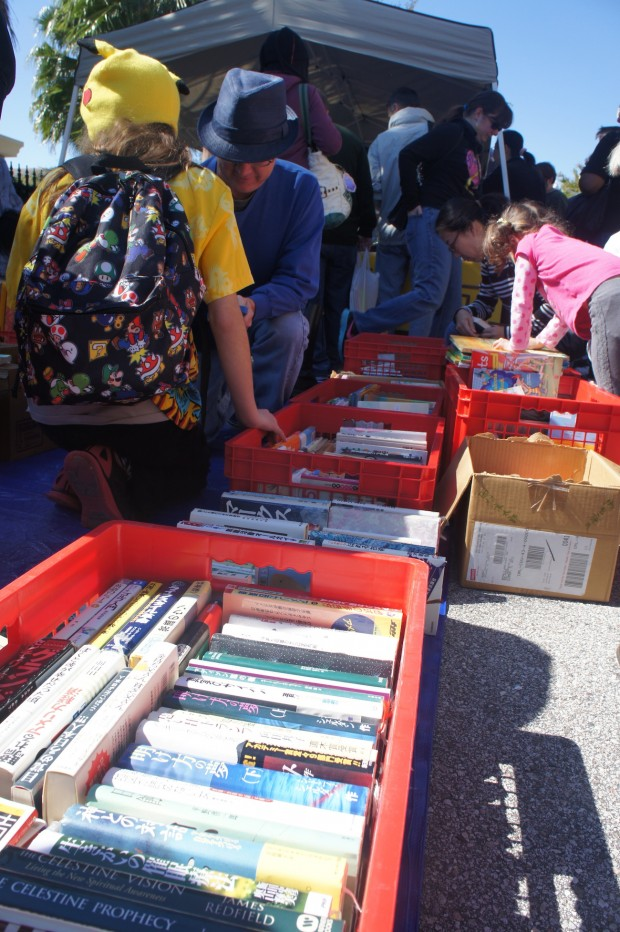 Visitors purview the selection of books