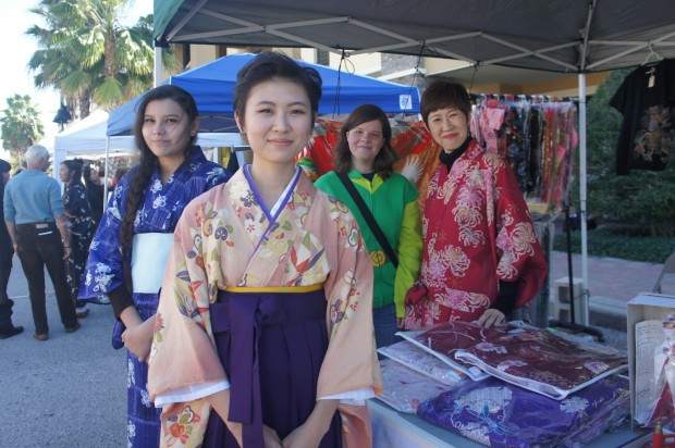 Kimonos for sale at this booth with Izumi and Yuni Sakurada and friends