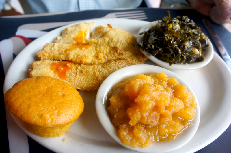 Fried Tilapia with rutabaga and collard greens