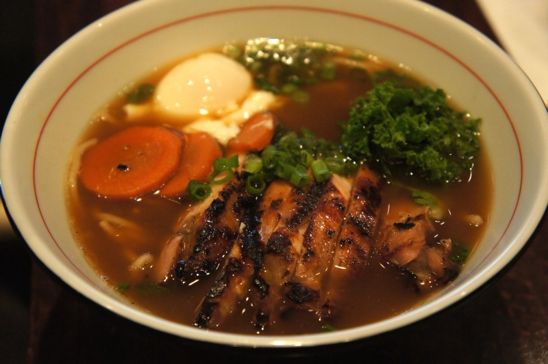 The shoyu ramen, a soy sauce chicken broth based ramen with chicken thigh