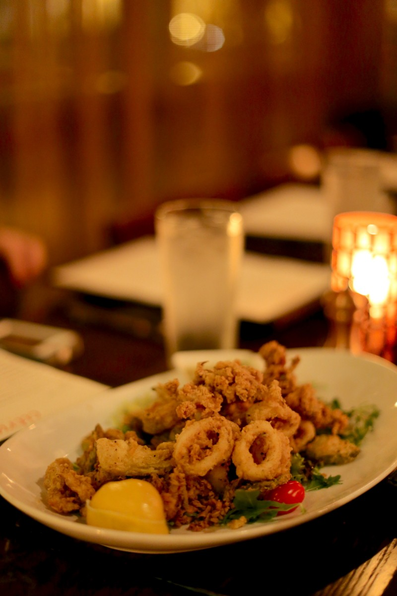 Crispy Calamari, jalapeños, artichokes, lemon, pickles, house sofrito 13