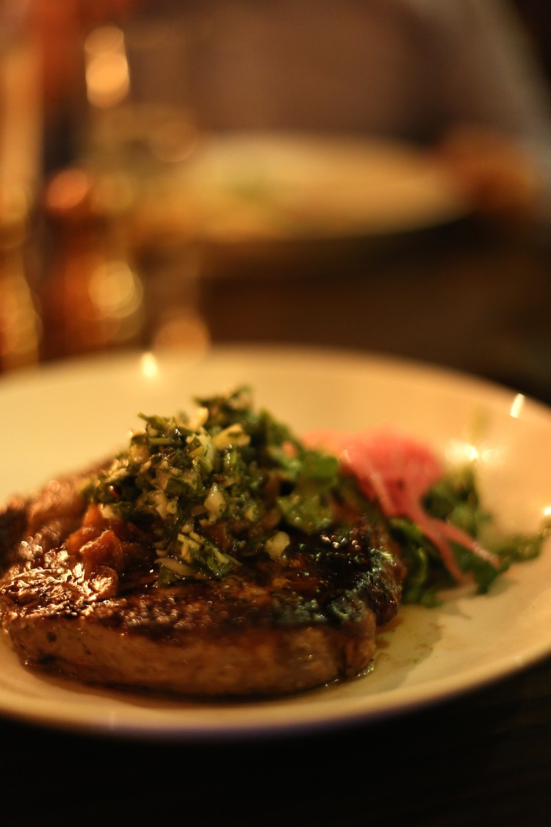 House Aged Chimichurri Ribeye, caramelized onion, arugula salad, brown butter mashed potato, chimichurri 32