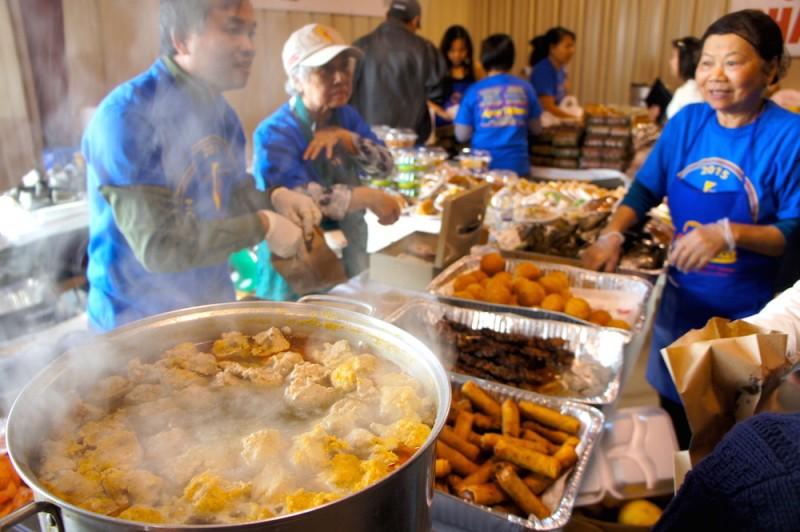 Steaming  pots of bun rieu pork and crab noodle soup
