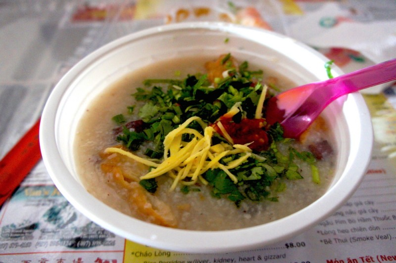 Chao long, rice porridge with offal