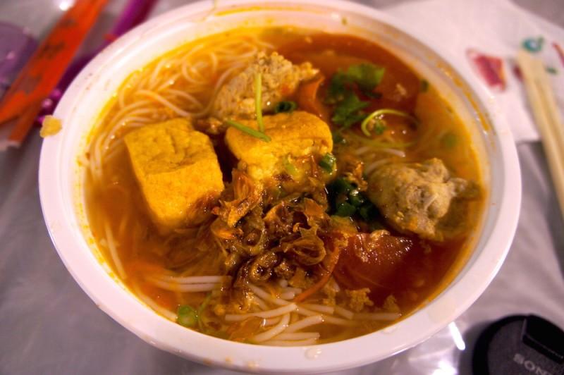 Bun rieu, a seafood crab and pork noodle soup
