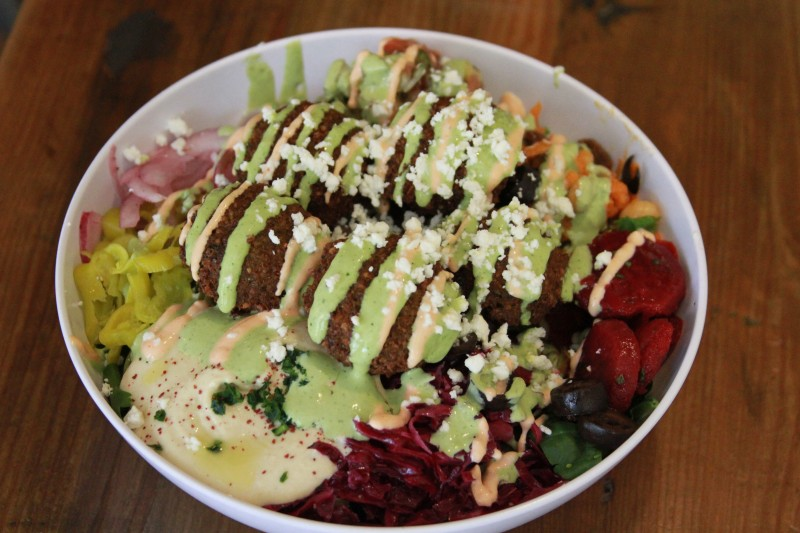 The Chick Pea & Hummus Bar Signature Dish (Falafel Salad Bowl)