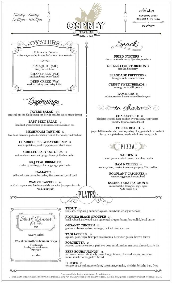 The Osprey Tavern Dinner Menu Summer 2015