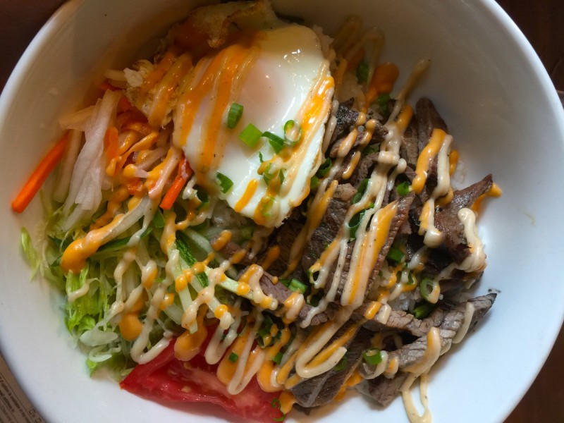 Grilled beef rice bowl with fried egg