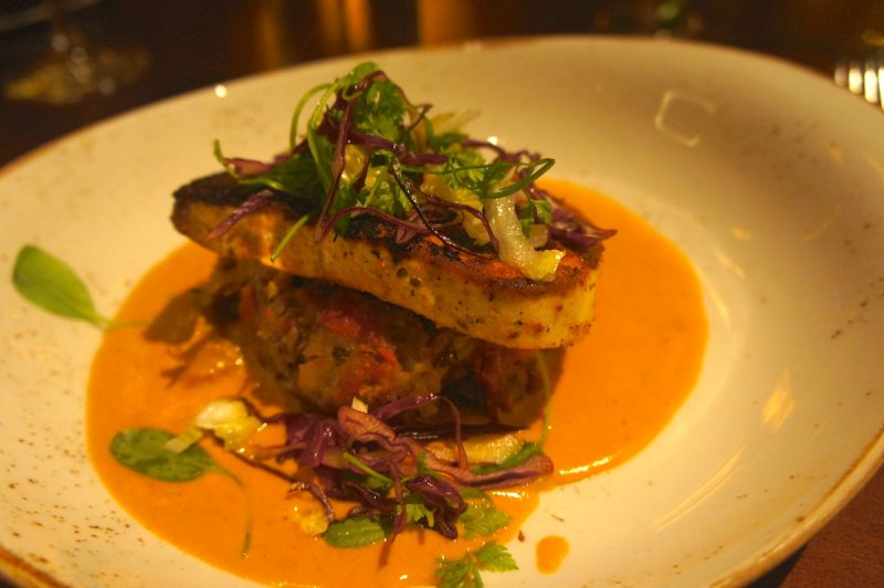 Florida Atlantic Swordfish  Olive oil and green onion crushed potatoes, Maine lobster bisque