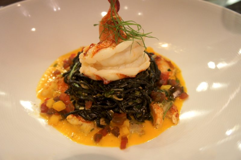 Maine Lobster Nero Pasta - Golden Tomato Sauce, Young Artichokes, Micro Lemon Grass
