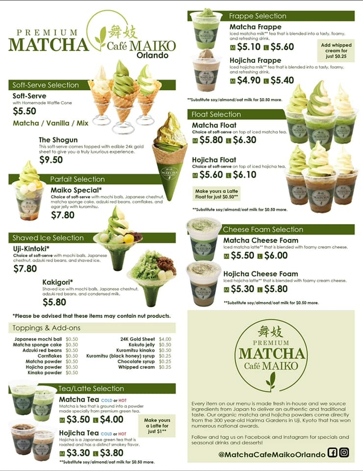 cafe maiko matcha green tea menu orlando